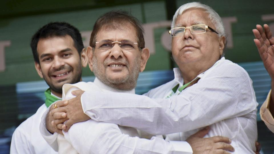 Lalu, Sharad Yadav join hands at 'anti-BJP' rally