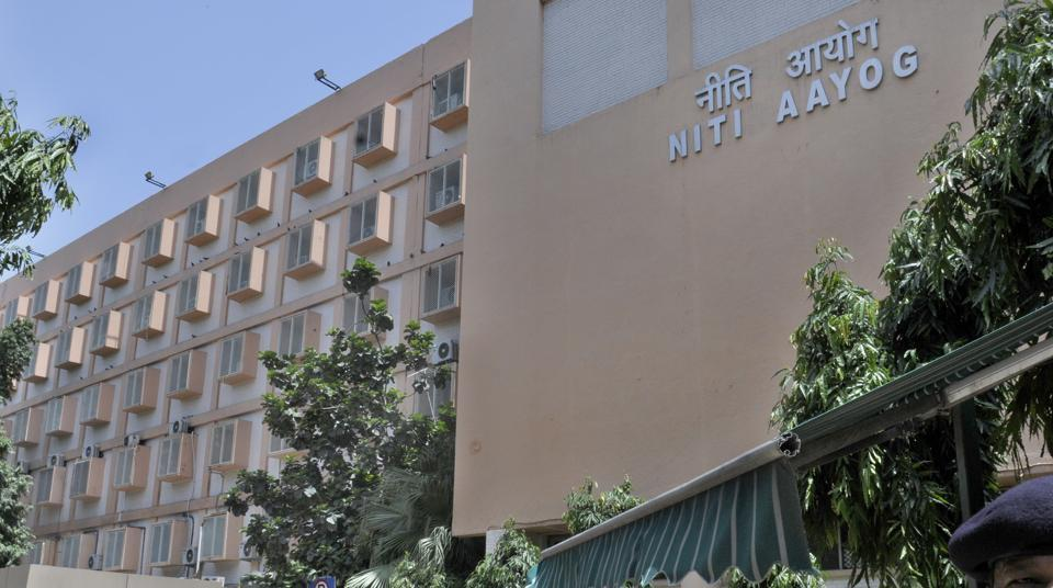 Niti Aayog building at Parliament Street in New Delhi.