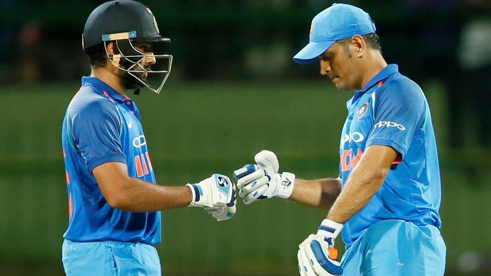 Rohit Sharma (C) scored his 12th century while MS Dhoni hit his 65th half-century as India beat Sri Lanka in the third ODI to seal five match series 3-0.  (REUTERS)