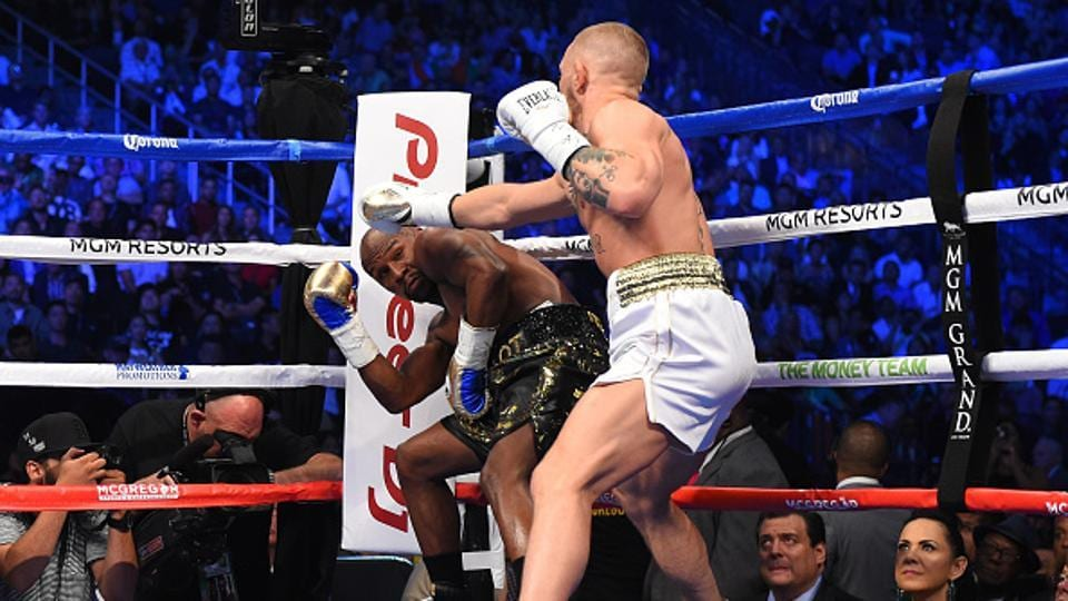 It was going well for the Irishman till the third round, with Mayweather quite content to be on he defensive. (Zuffa LLC via Getty Images)