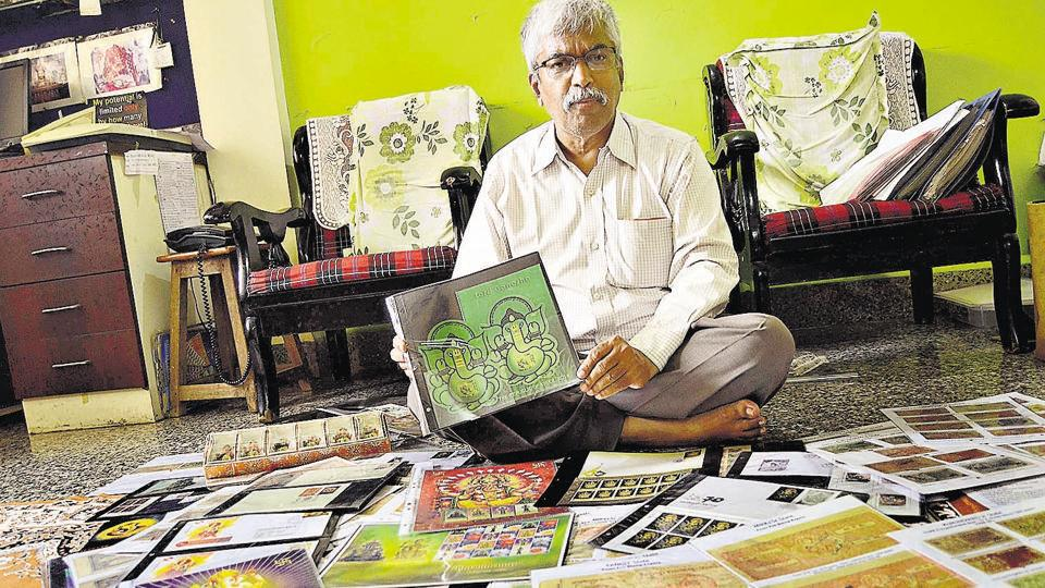 Vinayak Awate, philatelist and numismatist who has hundreds of stamps, stamp papers from countries having faith in Lord Ganesha.