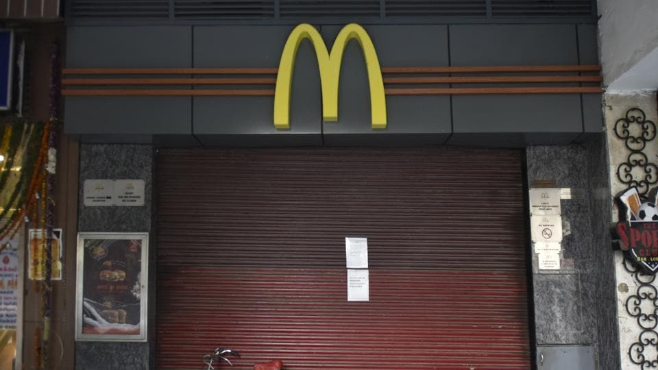 A shut McDonald's outlet at Connaught place in New Delhi, India, on Monday. (Ravi Choudhary/HT PHOTO)