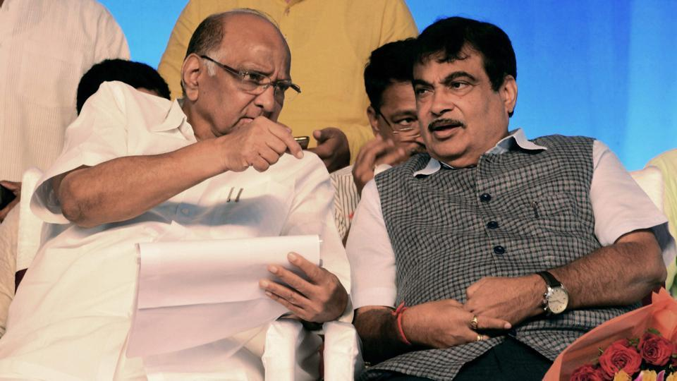 Union transport minister Nitin Gadkari (R) with NCP chief Sharad Pawar at the foundation stone laying ceremony of a project of National Highways Authority in Pune on Sunday.