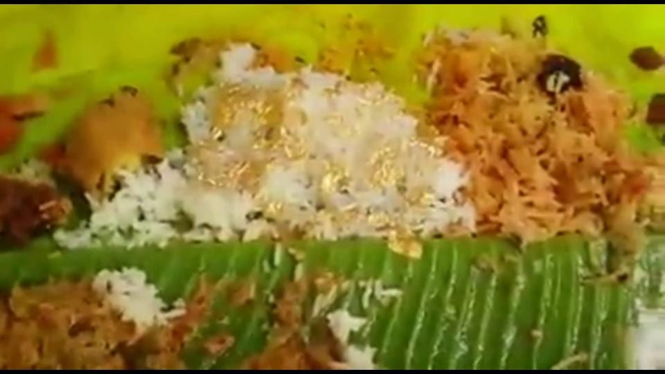 Gold rice,Rice with 24-carat gold,Gold rice wedding feast