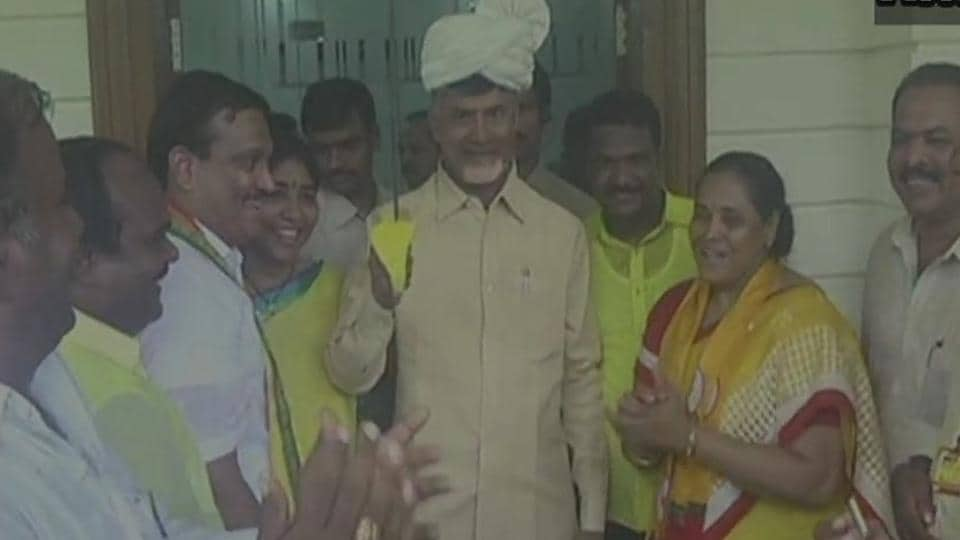 Andhra Pradesh chief minister N Chandrababu Naidu celebrates his party's victory in the assembly bypoll. (ANITwitter)