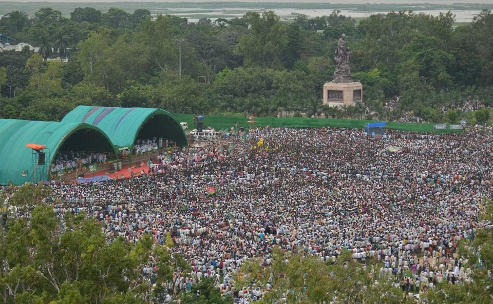 An aerial view of the 'BJP Bhagao, Desh Bachao' rally organised ...