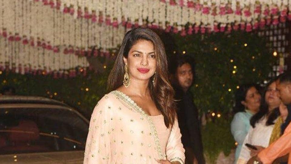 Priyanka Chopra during the Ganesh Chaturthi celebration at Mukesh Ambani residence in Mumbai on Aug 25.