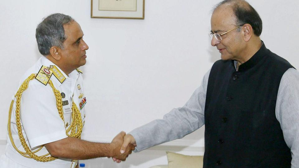 The Chief of Naval Staff of Bangladesh Admiral Nizamuddin Ahmed calling on Union Minister for Defence Arun Jaitley, in New Delhi on Monday. R