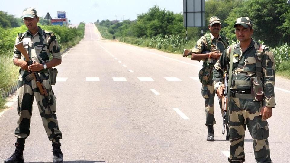 Security personnel keep vigil near Sunaria Jail in which Dera Sacha Sauda chief Ram Rahim's quantum of punishment will be decided, in Rohtak on Sunday.