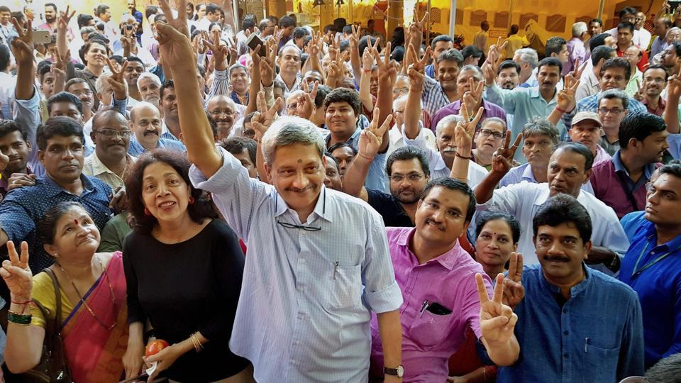 Goa chief minister Manohar Parrikar with his supporters before filing nomination papers for Panaji bypoll. Parrikar has won the bypoll by more than 4,000 votes.