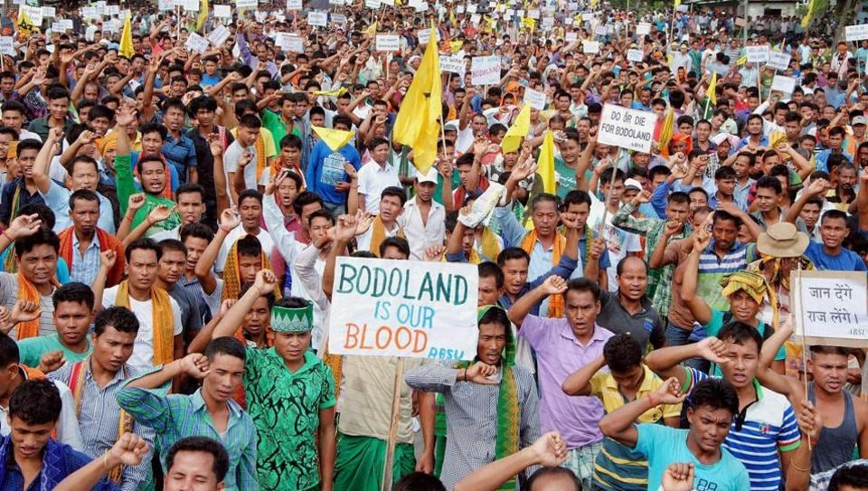 Activists of Bodo organisations during an earlier blockade of the national highway 31 to demand a separate state of Bodoland in Assam.