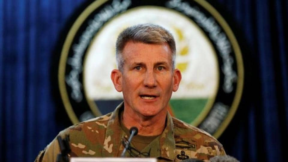 US Army Gen John Nicholson, commander of Resolute Support forces and US forces in Afghanistan, speaks during a news conference in Kabul, Afghanistan, in April 2017.