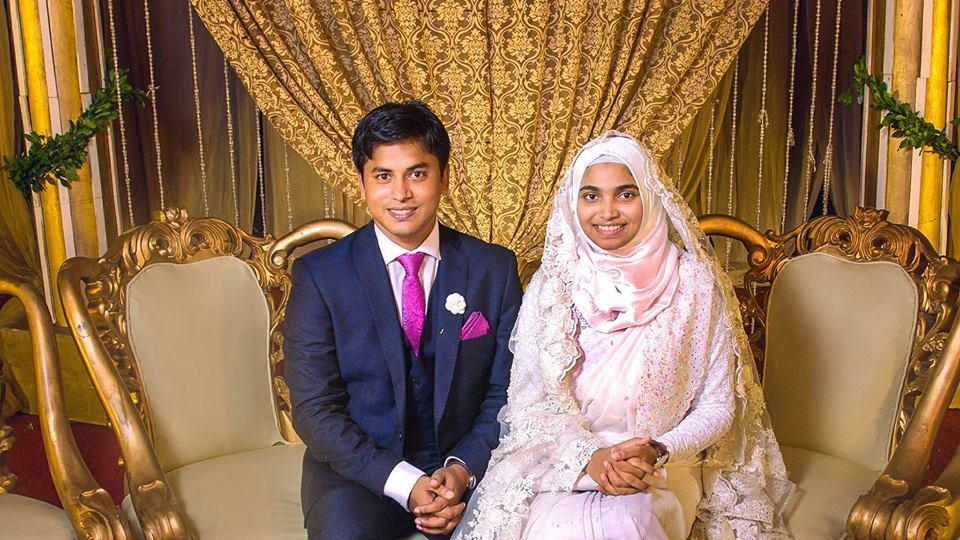 Tasnim Jara, who works as a doctor in Dhaka, sits next to her husband in the picture she shared online from her wedding.