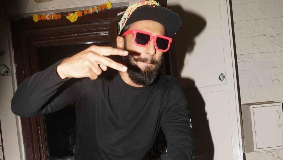 Ranveer Singh at a recording studio in Mumbai.