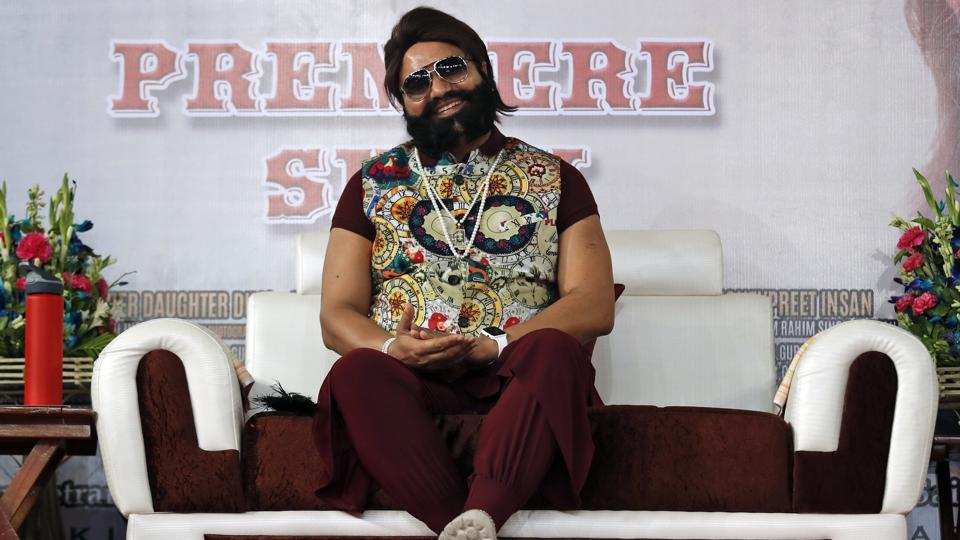 In this May 17 file photo, a self-styled godman Gurmeet Singh Ram Rahim Singh attends the premier of the movie