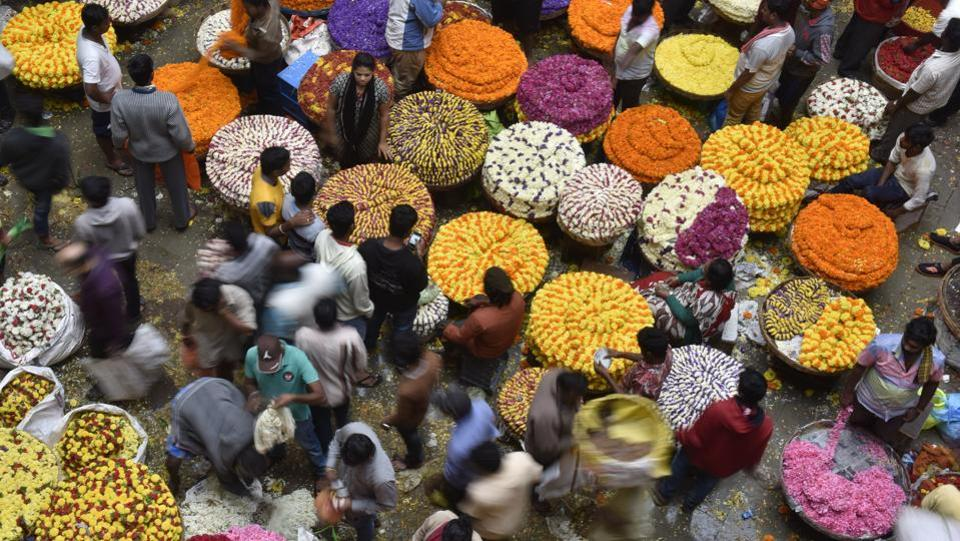 As the festive season picks up with Ganesh Chaturthi, demand and supply for flowers across India rises with people swarming markets and traders anticipating greater returns for their harvests. The K.R market flower market in Bangalore with its vibrant petals, overwhelming the air with the aroma of roses, gerbera, carnations, lilies and anthuriums is a sight to behold. The flower market also vies for the title of being the largest of its kind in Asia. (Arijit Sen/HT Photo)