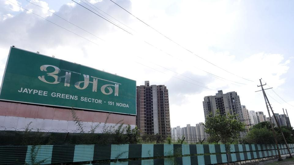 Construction stopped at Jaypee Aman project in Sector 151 on Tuesday, but builder claims it's still going on.