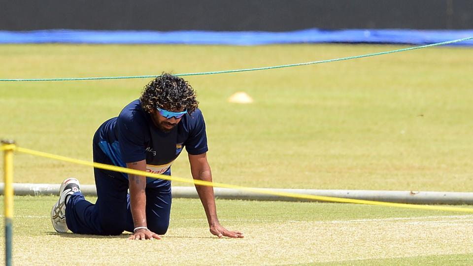 Lasith Malinga inspects the pitch during Sri Lanka's practice session at The R.Premadasa Stadium in Colombo.  (AFP)