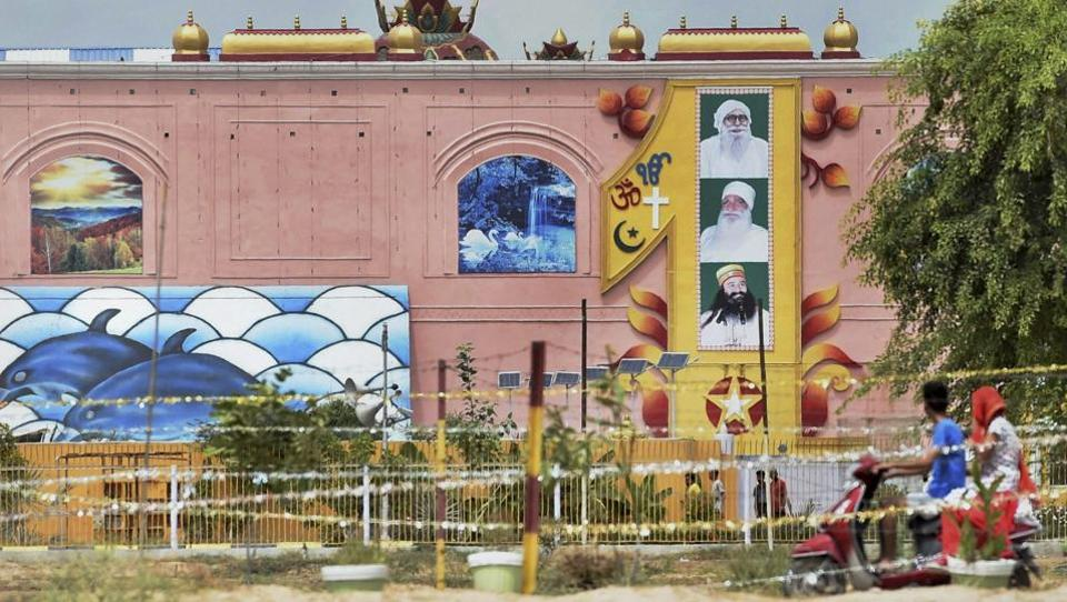 A view of the Dera Sacha Sauda headquarters in Sirsa on August 29, 2017, a day after its chief Gurmeet Ram Rahim Singh was sentenced 10 years in jail in each of the two rape cases against him. R