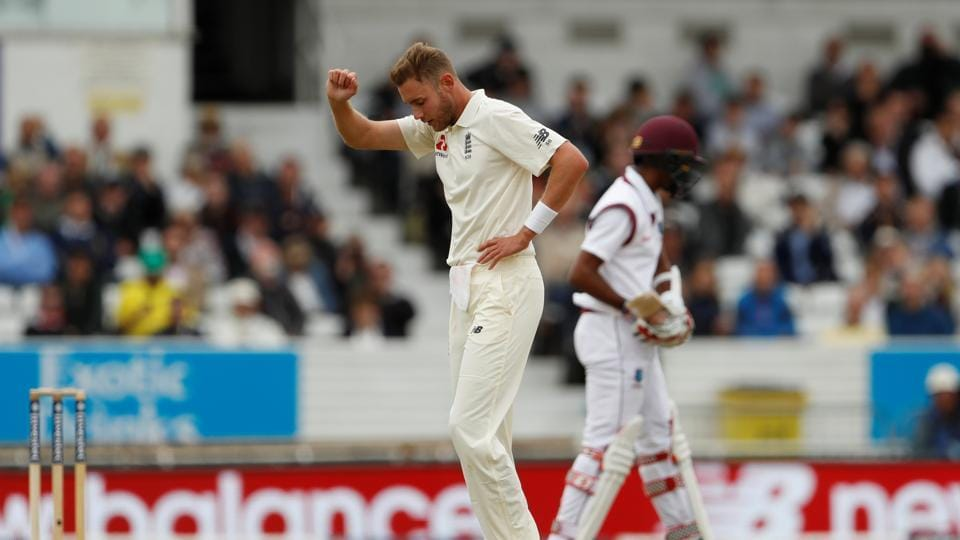 Stuart Broad got the wicket of Kieron Powell and ran out Kyle Hope for 0 as England dented West Indies. (Action Images via Reuters)