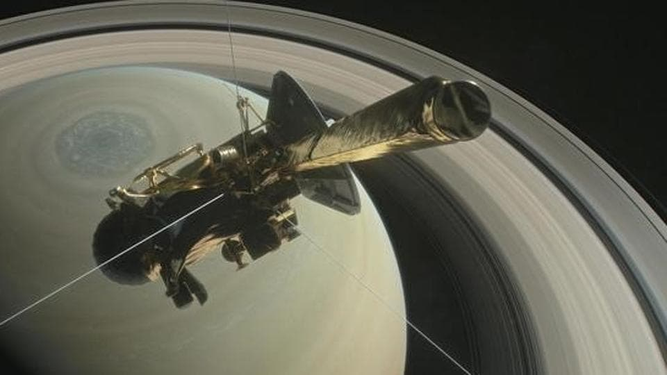 The spacecraft Cassini is pictured above Saturn's northern hemisphere prior to making one of its Grand Finale dives in this NASA handout illustration obtained by Reuters.