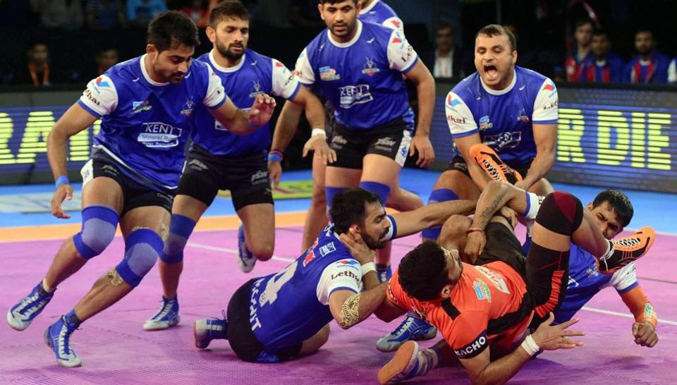 U Mumba (orange) and Haryana Steelers (Blue) players in action during their Pro Kabaddi League match in Mumbai on Wednesday.
