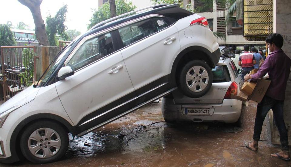Cars pile up at Mumbai's Dahisar on Wednesday.