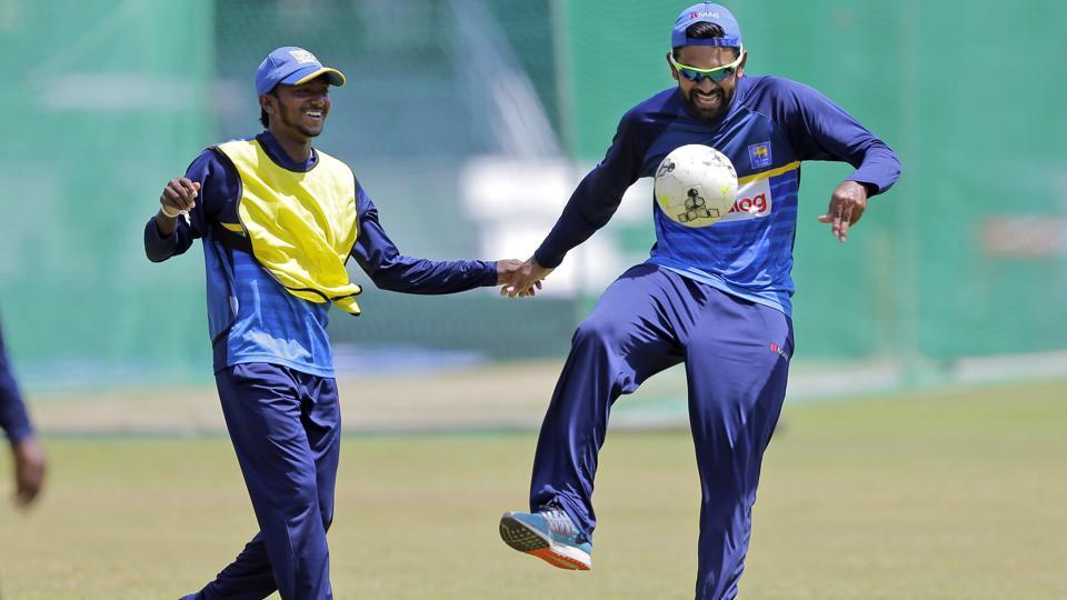 Dananjaya (L) and Thirimanne attend a practice session ahead of the fourth ODI between India and Sri Lanka.  (AP)