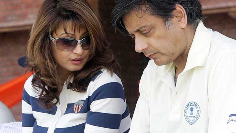 Sunanda Pushkar and Shashi Tharoor attend a friendly cricket match in New Delhi.