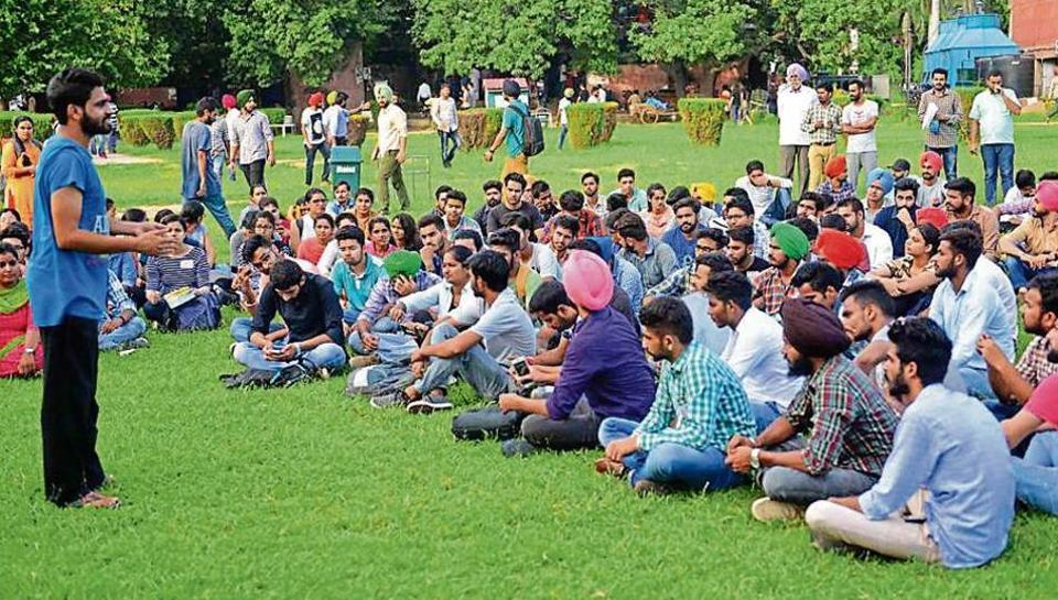 Members of the SFS during the general body meeting of the party at Student Centre, Panjab University, Chandigarh, on Wednesday.