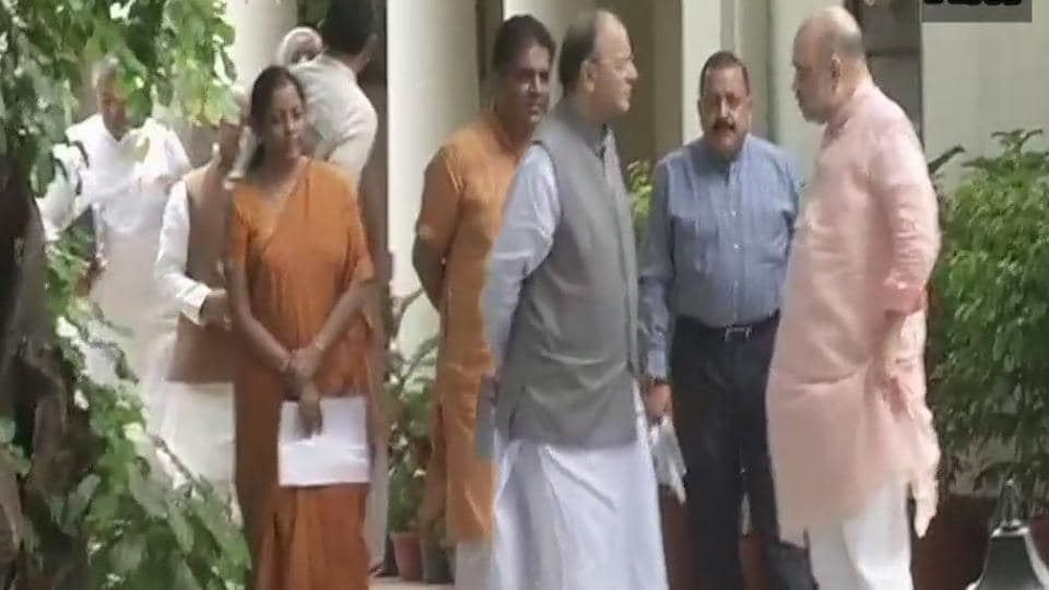 BJP election incharge for Gujarat Arun Jaitley and co-incharges with party president Amit Shah at his residence in Delhi.