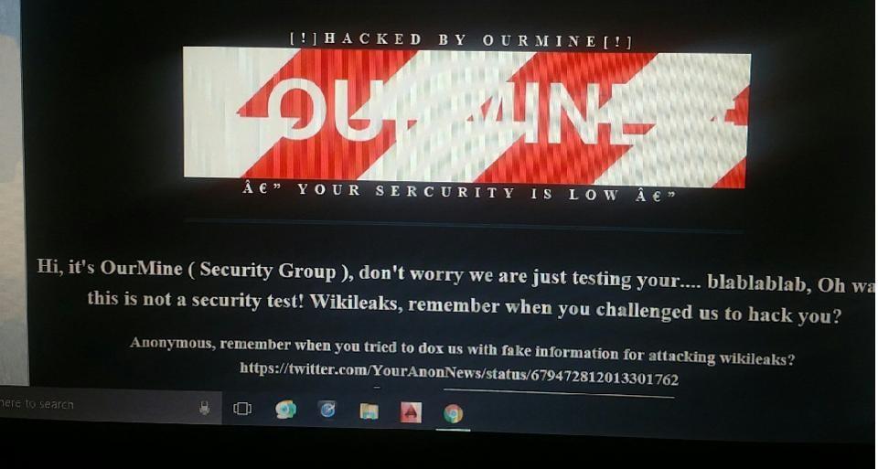 Defaced WikiLeaks website