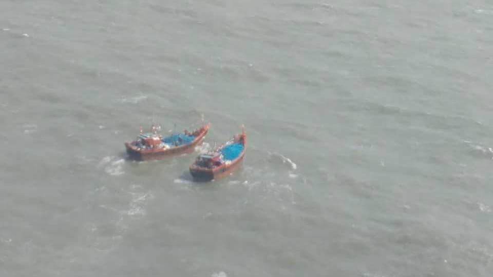 An aerial shot of the two boats spotted by the Coast Guard officials on Thursday morning.
