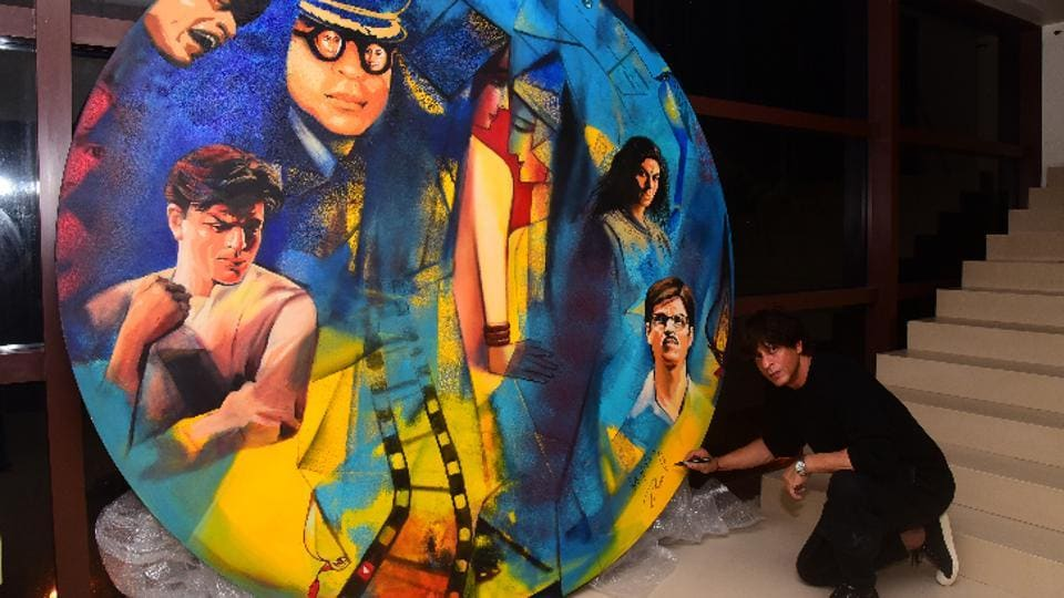 Actor Shah Rukh Khan lends his starry touch to this piece by artist Paresh Maity.