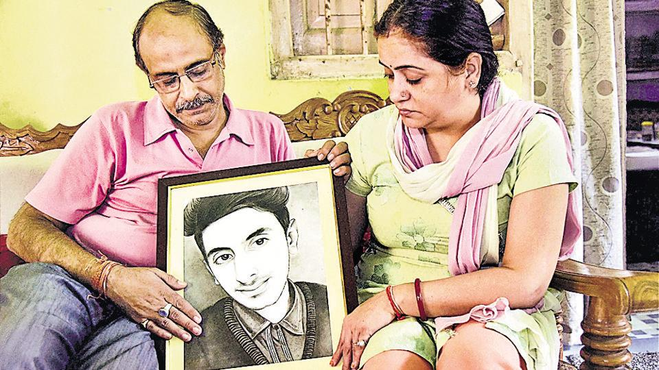 Aditya Sachdeva's parents at their residence in Gaya.