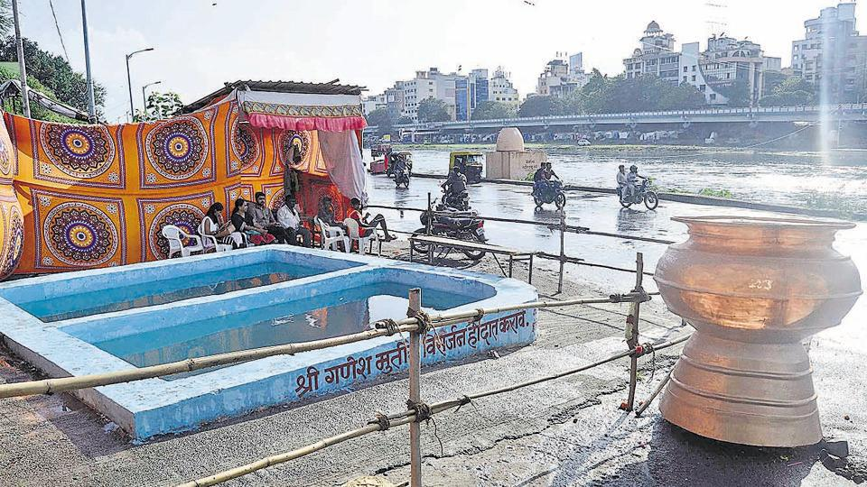 Pune Municipal Corporation prepared Immersion tanks and Nirmalya Kalash for upcoming Ganesha Immersion in Pune
