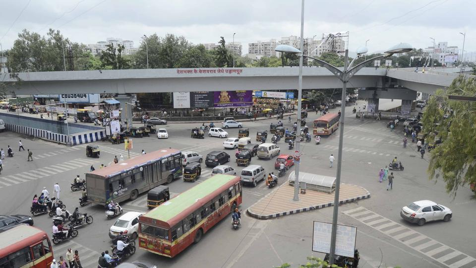 An aerial view of Jedhe chowk at Swargate in Pune on Thursday.