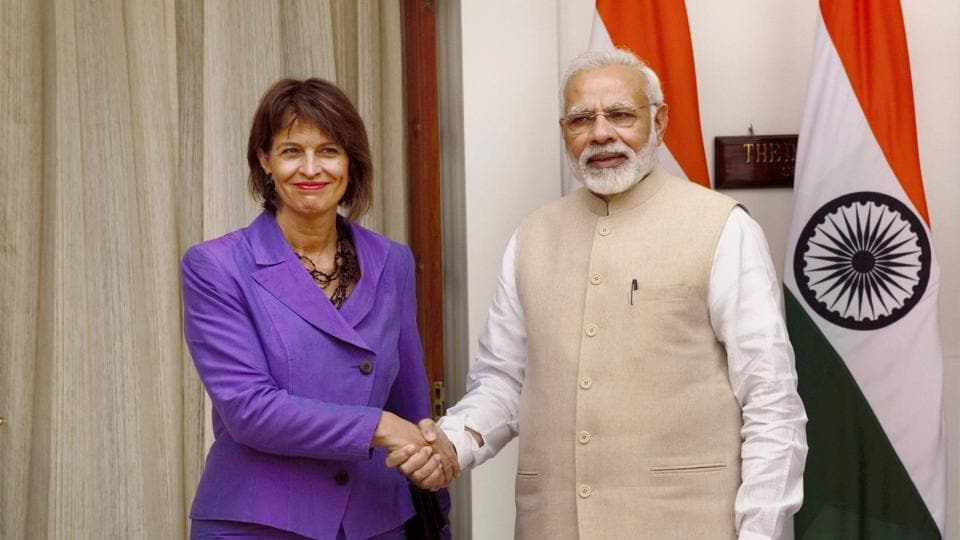 Prime Minister Narendra Modi shakes hands with Doris Leuthard, President of the Swiss Confederation, before a meeting at Hyderabad House in New Delhi on Thursday.