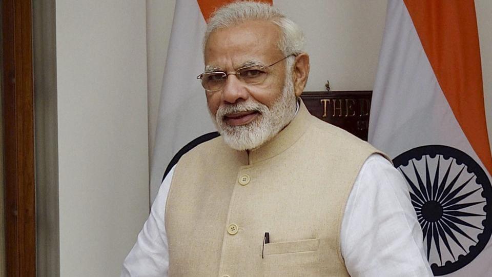 Prime Minister Narendra Modi at Hyderabad House in New Delhi on Thursday.