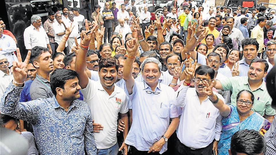 Goa Chief Minister Manohar Parrikar at a victory rally after winning the Panaji by-election in Goa, August 28