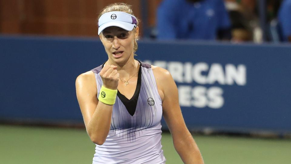 Ekaterina Makarova of Russia reacts after winning a point against Caroline Wozniacki of Denmark. (USA Today Sports)