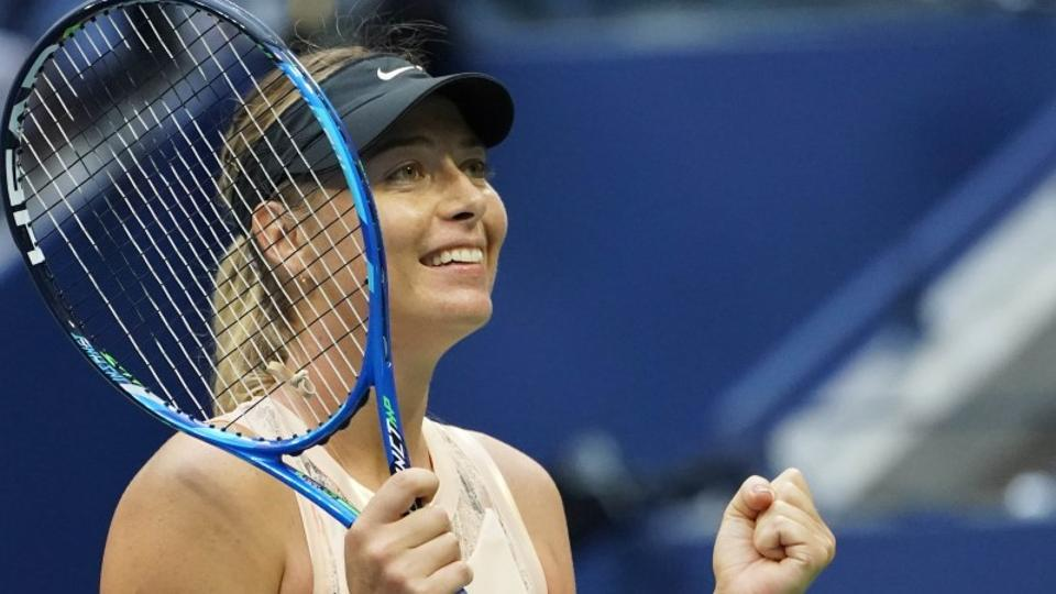Maria Sharapova celebrates after beating Timea Babos of Hungary at the US Open. (USA Today)