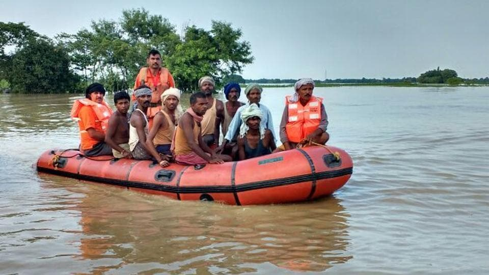 NDRF personnel engaged in evacuating marooned people in Araria.