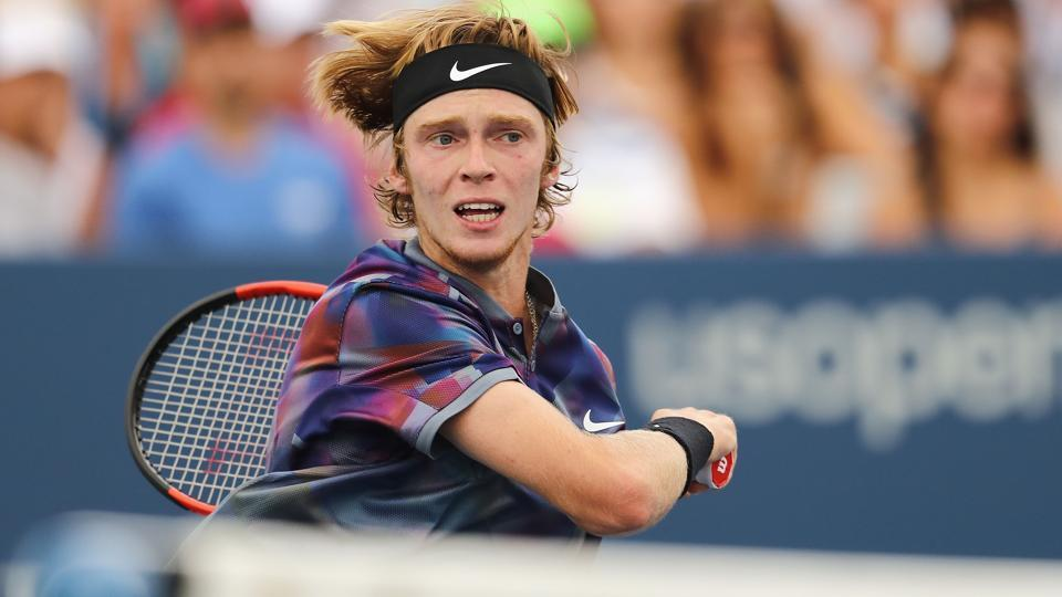 Andrey Rublev of Russia pulled off a big upset as he defeated Grigor Dimitrov of Bulgaria7-5, 7-6 (7/3), 6-3. (AFP)