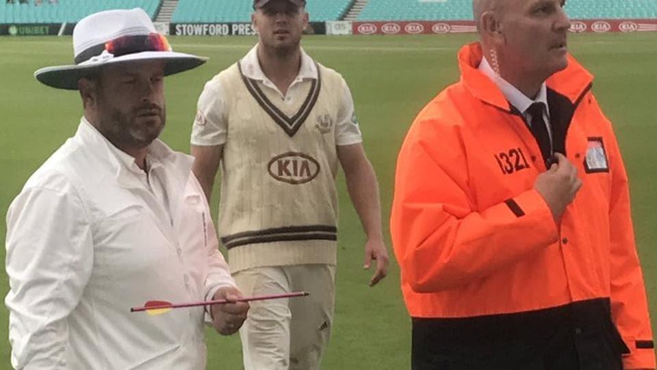 A County cricket Championship match between Surrey and Middlesex was abandoned on Thursday due to a remarkable incident that saw an apparent crossbow bolt land on the square at The Oval.