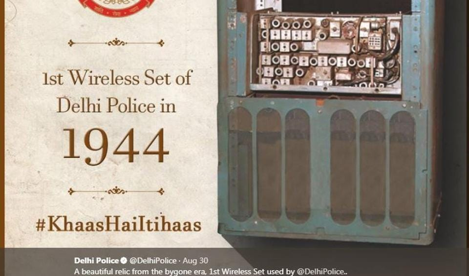Delhi Police's Twitter handle recently uploaded this picture of the first wireless set used by the department.