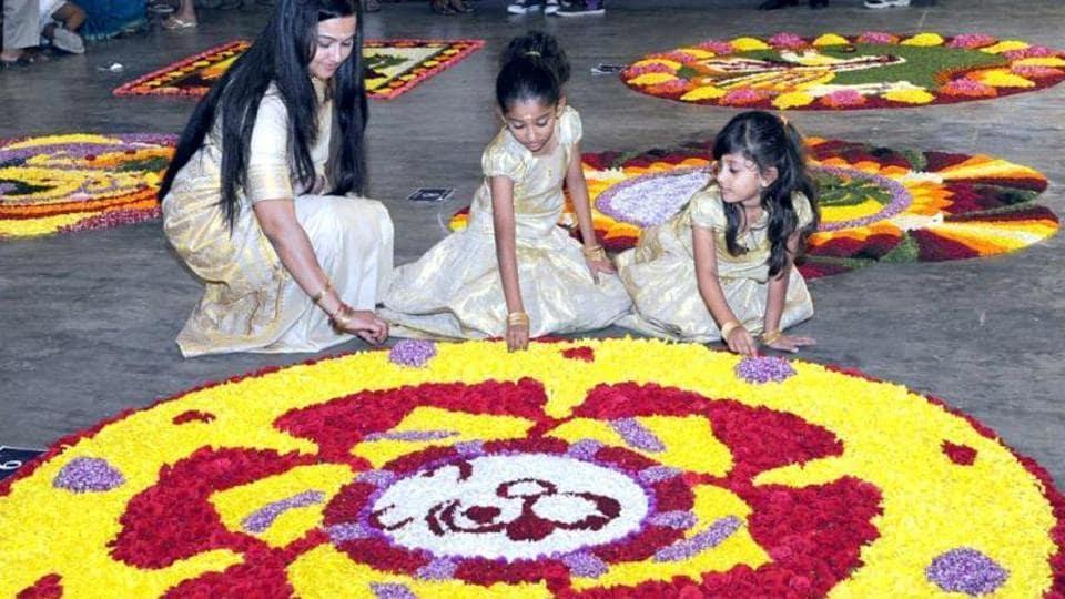 Flower rangolis or pookkalam are part of Onam celebrations.