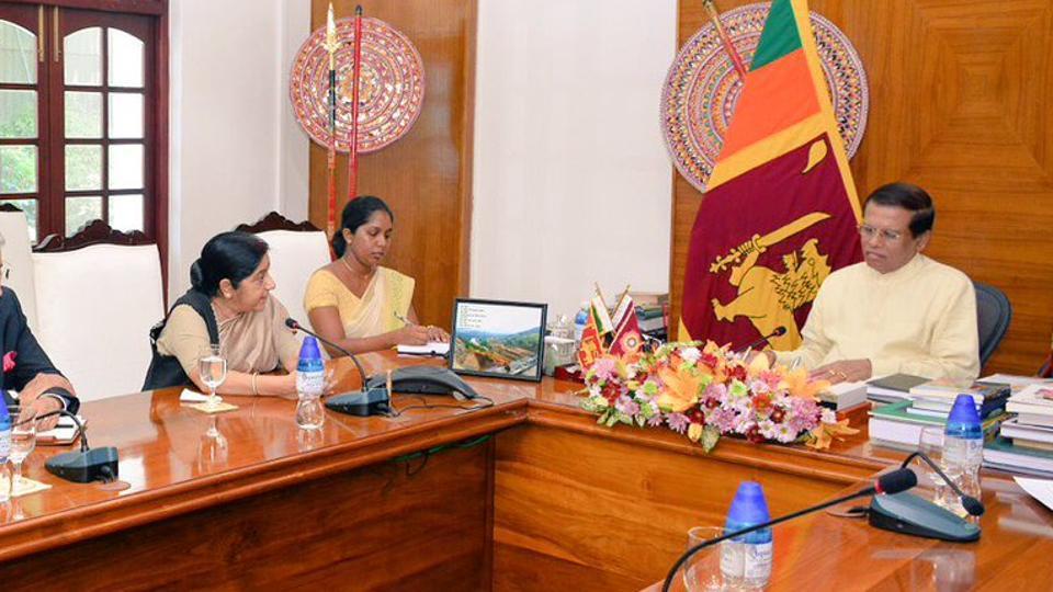 External affairs minister Sushma Swaraj during her meeting with Sri Lankan President Maithripala Sirisena. (Photo: MEA Twitter)