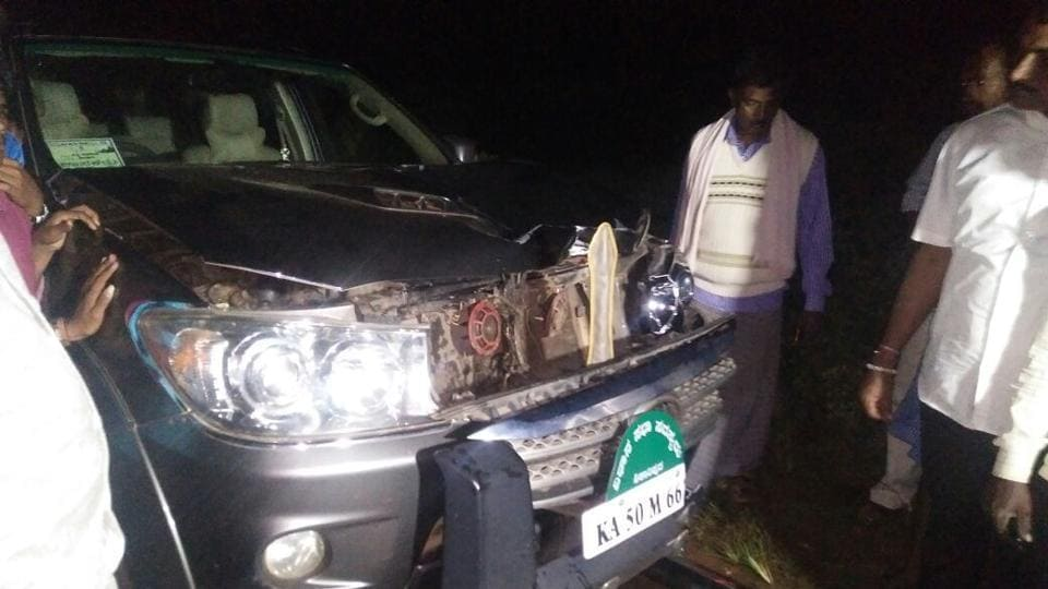 Yeddyurappa's son's car hit a pedestrian in Karnataka's Davanagere district.