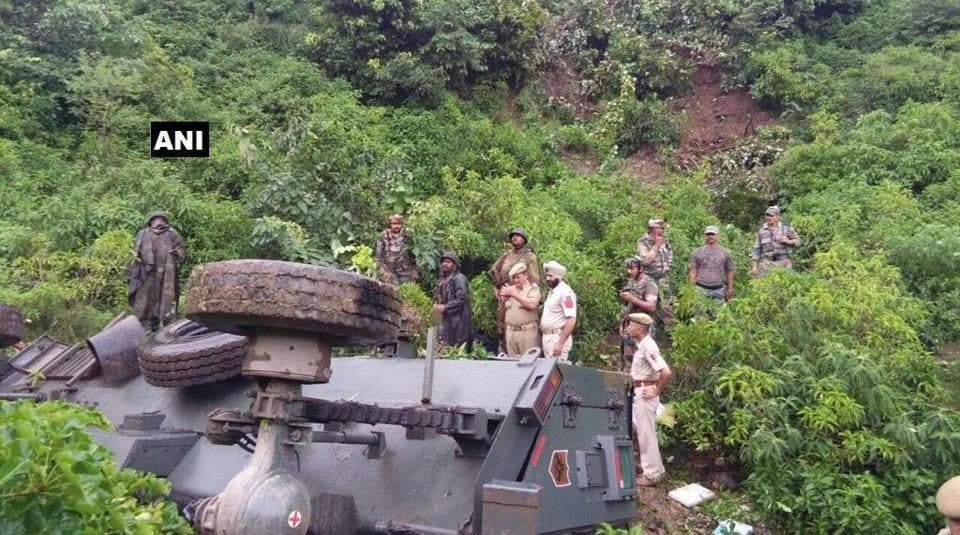 Thirteen soldiers were injured on Friday when an Army vehicle plunged into a deep gorge in Jammu and Kashmir's Reasi district.